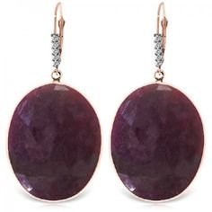 Ruby and Diamond Drop Earrings 39.0ctw in 9ct Rose Gold