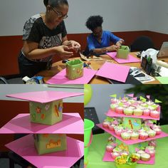 We had fun making this Cupcake stand and we saved a whole lot. We used cardboard, wrapping paper glue and tape Girls 3rd Birthday, Wild One Birthday Party, Unicorn Birthday Parties, Diy Unicorn Party Decorations, Girl Birthday Decorations, Diy Cupcake Stand, Pig Party, Paper Glue, First Birthdays