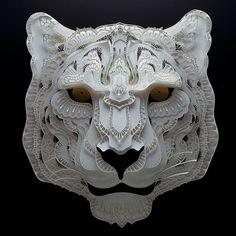 Patrick Cabral Endangered Species Series In Cut Paper - Snow Leopard