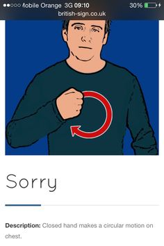 Sorry English Sign Language, Sign Language For Kids, Sign Language Phrases, Sign Language Alphabet, British Sign Language, Learn Sign Language, Speech And Language, Learn Bsl, Makaton Signs