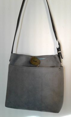Gray Suede Purse, 11.5w x 14t x 2d, Gray Shoulder Bag, Faux Suede Purse, Pocketbook, Bag, Gray Bag, Gray Purse, Gray Faux Suede Shoulder Bag by PandenteDesigns on Etsy