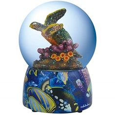 WL Colorful Majestic Turtle Swimming in Coral Reef Water Globe 100mm * Visit the image link more details.