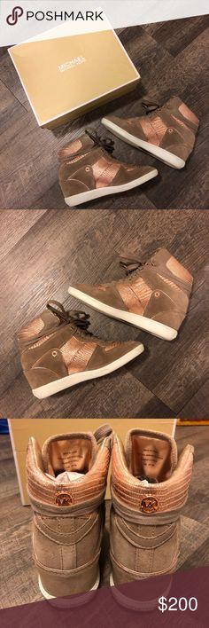 6488d326f60 Michel Kors Rose Gold High Top Wedge Sneakers Michel Kors Rose Gold High  Top Wedge Sneakers