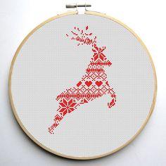 Nordic Pattern Christmas Reindeers 2 Cross por CrossStitchForYou
