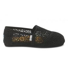 Toms Shoes Black Crochet Women's Classics