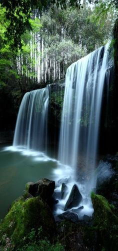Soothing Waterfalls, Nabegataki-Falls in Kumamoto, Japan by Ken Shimo Places Around The World, Oh The Places You'll Go, Around The Worlds, Beautiful World, Beautiful Places, Beautiful Pictures, All Nature, Amazing Nature, Beautiful Waterfalls