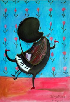 happy piano, acrylic on canvas, 45 x 65cm. 2004.Drawing of a piano for sale by artist Diego Manuel