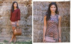Red sweater, brown print dress, brown flats