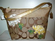 Coach Gold Floral Stripe Bag