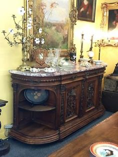 """Antique Henry II French Style Walnut Carved Sideboard With Marble Top  7' Wide x 25.5"""" Deep x 40"""" High  $4,500  #84424  Dealer #888 Forestwood Antique Mall 5333 Forest Lane Dallas, Texas 75"""
