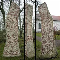 Ledberg in Östergötland Sweden.The Ledberg stone, similar to Thorwald's Cross, a partially surviving runestone erected at Kirk Andreas on the Isle of Man, features a figure with his foot at the mouth of a four-legged beast that is above a legless, helmeted man, with his arms in a prostrate position.This is considered to be a depiction of Odin being devoured by the wolf Fenrir at Ragnarök, the final battle in Norse mythology.During this final battle between the Norse gods known as the Æsir…