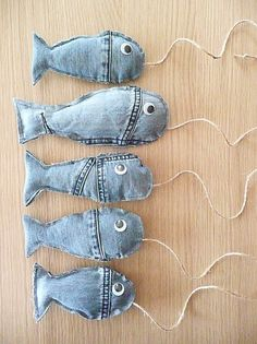 from an old jeans. denim Fish from an old jeans. - Fish from an old jeans. denim Fish from an old jeans. Jean Crafts, Denim Crafts, Fabric Crafts, Sewing Crafts, Sewing Projects, Diy Projects, Denim Ideas, Creation Couture, Old Jeans