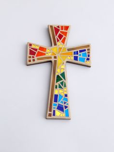 "Mosaic Wall Cross, Metallic Brown with Rainbow Glass, 12"" x 8"", Handmade Stained Glass Mosaic Design by GreenBananaMosaicCo"
