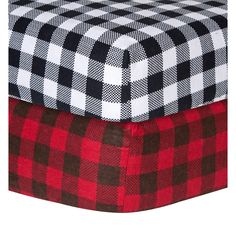 Your child's bed will be soft and cozy with these classic cotton flannel crib sheets by Trend Lab. The sheet set features one classic buffalo check in black and white and one in deep red and pinecone brown.