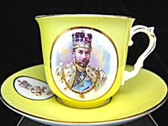 An unusual yellow cup & saucer for the coronation of King George V and Queen Mary in Marked 'bisto' for Bishop & Stonier, Staffordshire, England. High Table Set, Royal Pavilion, Yellow Cups, Royal Tea, My Cup Of Tea, Antique China, China Patterns, King George, British Royals