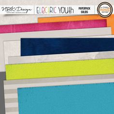 Electric Youth {Paper-Set: Solids}digital scrapbook kit by NBK Design