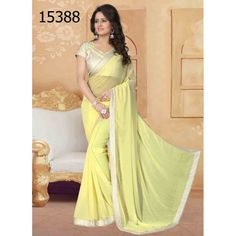 Designer Georgette Pearls Pattern Party Wear Yellow Saree - 15388 ( ML - 896 )