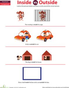 Preschoolers learn the difference between inside and outside on this colorful worksheet featuring monkeys, dogs, and a friendly cab driver. Nursery Worksheets, Kids Math Worksheets, First Grade Activities, Kindergarten Math Worksheets, Maths, Preschool Writing, Preschool Learning Activities, Preposition Activities, Preschool Classroom