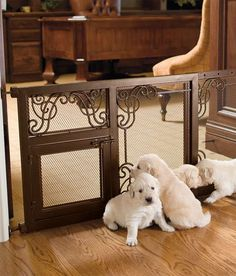 Gates are a decorative alternative to standard pet barriers and are designed to enhance your home's fine decor while keeping pets safely out of the way.