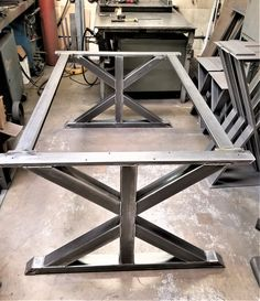 Trestle Table Legs with 2 Braces, Model Heavy duty, Industrial Legs, Dining Table Leg Set Dinning Room Tables, Dining Table Legs, Trestle Table, Trestle Legs, Metal Base Dining Table, Welded Furniture, Steel Furniture, Industrial Furniture, Pipe Furniture