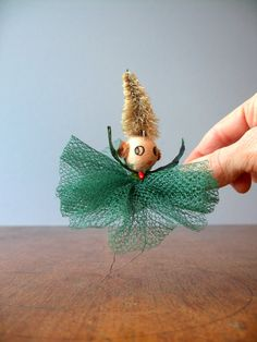 Mid Century Spun Cotton Christmas Ornament  Party Girl by luola, $11.00