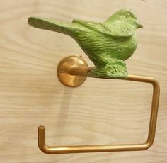Brass tissue paper hanging holder Vintage toilet Home Decor Green bird spigot Living indoor Free Shipping WITH REGISTERED MAIL.