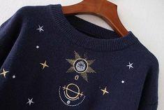 Women Fashion Sweater Moon Star Embroidery Knitting Sweaters O-Neck Wi - Knitting Sweaters, Warm Sweaters, Pullover Sweaters, Sweaters For Women, Crop Top Sweater, Long Sleeve Sweater, Girls Crop Tops, Cardigan Fashion, Moon