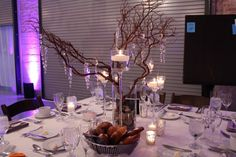 Wedding Centerpiece Trends for 2013 - MDM Dev Tree Centerpieces, Wedding Centerpieces, Wedding Decorations, Table Decorations, Fundraiser Party, Tree Wedding, Wedding Ideas, Event Lighting, Gift Table