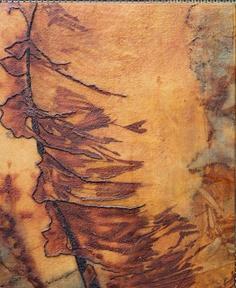 Seven Gable House Art: Rust Dye plus Stitching plus Encaustic