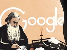 """The doodle includes an eight-scene slideshow with images of Tolstoy himself, as well as scenes from his works """"War and Peace,"""" """"Anna Karenina,"""" and """"The Death of Ivan Ilyich. Google Doodles, Animation News, Anna Karenina, Inspirational Books, Arts And Entertainment, Art Google, Logo Google, Google Images, Photo Contest"""