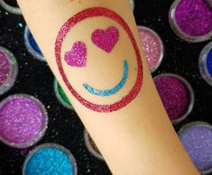Emoji Glitter Tattoo, Smiley Face, love, happy. Smiley, Print Tattoos, Emoji, Glitter, Face, Happy, Emoticon, The Emoji, Faces