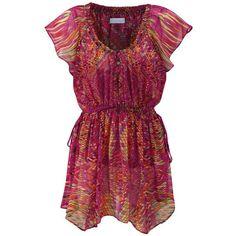 Multi coloured fusion chiffon tunic ($35) ❤ liked on Polyvore featuring tops, tunics, dresses, shirts, blouses, purple tunic, cinch shirts, chiffon tunic, purple camisole ve chiffon top