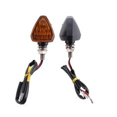 2PCS Black DC12V LED Motorcycle Turn Signal Lights Engineering Plastic with Yellow Light for Motorcycle Electric Vehicle Scooter