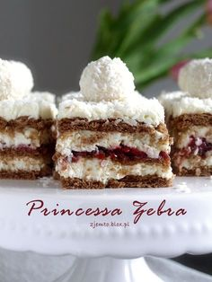 Zebra cake Princessa - without baking Cookie Desserts, No Bake Desserts, Just Desserts, Baking Recipes, Cake Recipes, Sweet Bar, Polish Recipes, Polish Food, Specialty Cakes