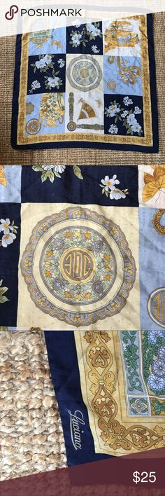 Vintage Luciano 100% silk scarf made in Italy vintage Italian silk scarf shawl wrap blue and gold pattern very Versace-esque made in Italy 100% silk Luciano Barbera Accessories Scarves & Wraps