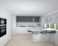 Cocina Santos Modelo Line L y Line E Color Blanco Nieve y Gris Antracita