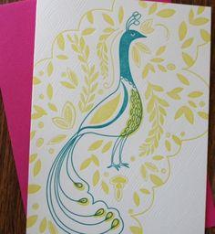 lovely peacock hand-printed letterpress cards!     #letterpress #peacocks