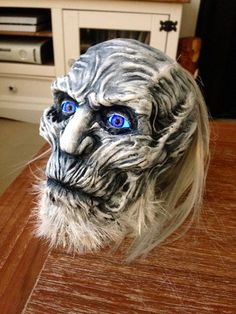 Clay sculpted White Walker head, inspired Game of Thrones with light up LED eyes