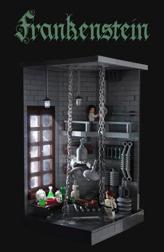 Xenomurphy's Frankenstein vignette depicts the perfect setting for the scene when Victor Frankenstein brings his creation to life. Check out the gallery on MOCpages for more pictures that show other great details such as the cracked floor. Lego Haunted House, Lego House, Lego Halloween, Halloween Ideas, Lego Factory, Lego Minifigure Display, Lego Tv, Amazing Lego Creations, Lego Room