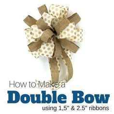 Double bow with two different widths of ribbon from 9 Ways to Make a Wreath Bow. Very clear video instructions fromSouthern Charm Wreaths. Diy Bow, Diy Ribbon, Ribbon Flower, Ribbon Hair, Hair Bows, Fabric Flowers, Floral Ribbon, Ribbon Crafts, How To Make Wreaths