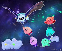 I drew a space background the way it looks in the credits of Kirby: Return to Dreamland I then asked a friend what to draw that looks cute and floats through space and she said: Kirby! BAM! So I dr...