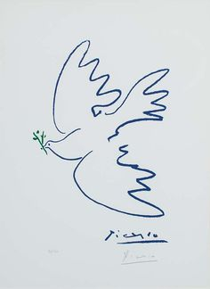 View details of Pablo Picasso Dove of Peace (Colombe de la paix ), an original, hand-signed Picasso lithograph. See purchasing info. Kunst Picasso, Pablo Picasso Drawings, Art Picasso, Picasso Paintings, Picasso Tattoo, Matisse Tattoo, Picasso Prints, Picasso Dove Of Peace, Peace Dove