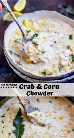 This chowder recipe is quick and easy! Crab and Corn Chowder is a thick, rich, indulgent soup that will make you think you are near the beach. With some shortcuts this hearty chowder comes together in no time and is perfect for the chilly months. Easy Soup Recipes, Fish Recipes, Seafood Recipes, Easy Dinner Recipes, Cooking Recipes, Easy Meals, Corn Chowder Recipes, Easy Crab Meat Recipes, Potato Recipes