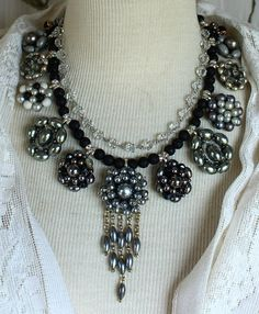 Assemblage necklace vintage clip on earrings layered antique