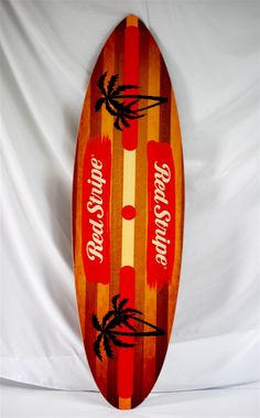Large Red Stripe Surfboard
