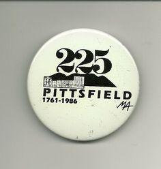 Pittsfield ma 225 years pin 1761 1986 button massachusetts mass