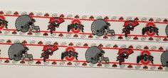 "6  Yards 1"" Ohio State Buckeyes football Inspired  Grosgrain Ribbon/Polyester #Unbranded"