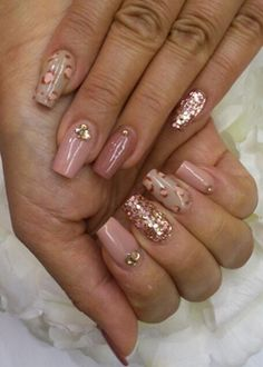 I like the different designs but not the color - peach, leopard print and glitter new years eve nail art