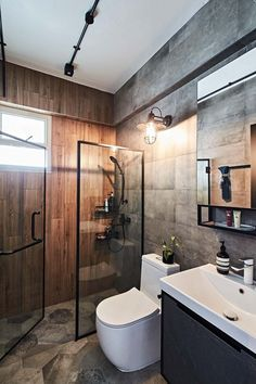 Industrial Bathroom Design, Industrial Chic Decor, Industrial Interior Design, Bathroom Design Small, Bathroom Interior Design, Modern Industrial, Bachelor Pad Decor, Mens Room Decor, Toilet Design