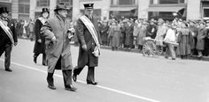 """Love the story too. :) 'Wide World photographer Carl Donnelly Nesensohn as he leads off the St. Patrick's Day parade in New York, with Fire Chief John J. McCarthy, grand marshal on March 17, 1942. Another Wide World photographer, Robert Kradin who made this shot, said Nesensohn """"led"""" the Irish marchers for almost a whole block before being lured away by an unusual opportunity to snap a good crowd picture. (AP Photo/Robert Kradin)'"""